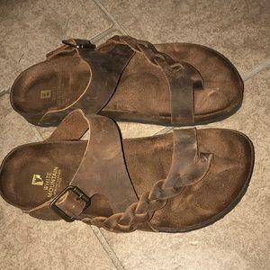 White Mountain Hamilton Sandals leather brown 7